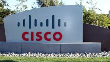 An image of the Cisco logo on a sign outside the company's offices in California