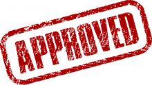 An illustration of a stamp mark saying 'Approved'