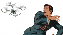 An illustration of a man recoiling in horror from a drone