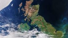 A satellite image of much of the the UK