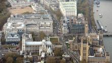 An aerial view of Westminster, including Whitehall, the Houses of Parliament, and Horse Guards Parade