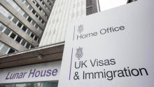 A close-up image of the sign outside UK Visas and Immigration headquarters