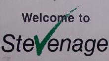 A close-up image of a sign reading 'Welcome to Stevenage'