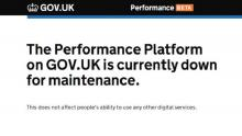 A screengrab of the 'closed for maintenance' message users are presented with when visiting the GOV.UK performance platform