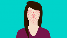 An illustration of a woman with a blank face with facial recognition-style lines printed on it