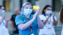 Nurses claps during the 8pm minutes applause for NHS staff at the University Hospital of North