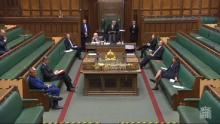 An image of MPs in the House of Commons observing social distancing measures