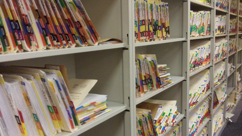 Shelves with patient files
