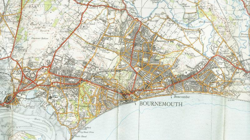 Ordnance Survey map of old Bournemouth