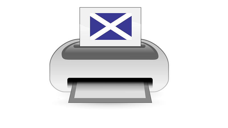 A picture of a printer containing a piece of paper with a Scottish flag