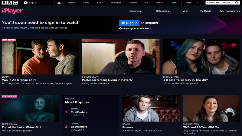 A screenshot of the BBC iPlayer service