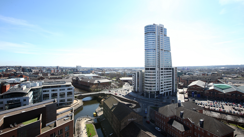 An aerial image of Leeds City Centre Bridgewater place