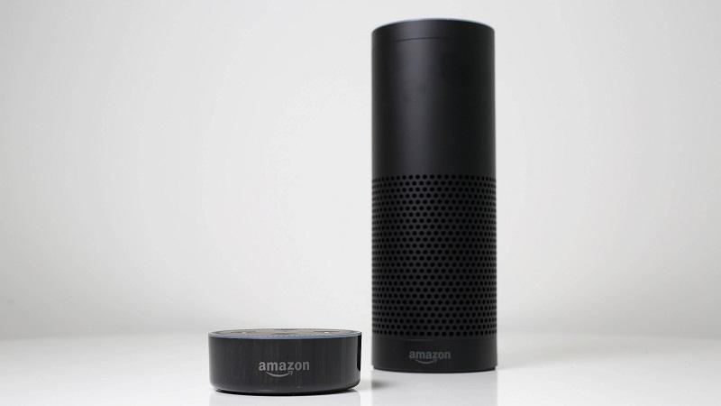 An image of an Amazon Echo and Echo Dot