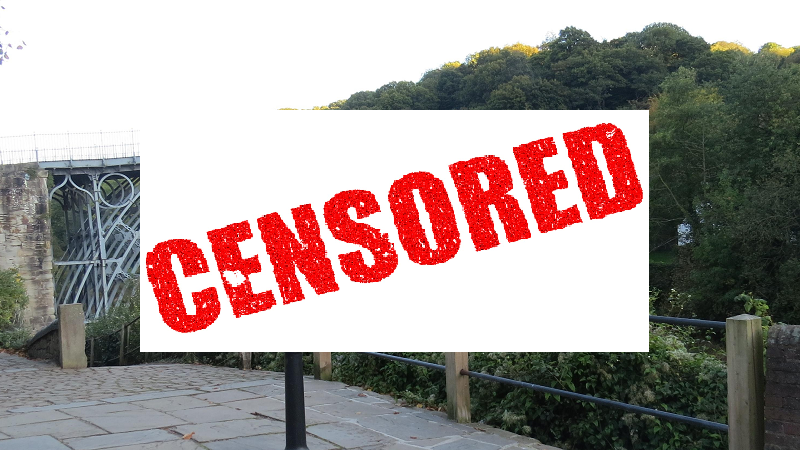 An image of Ironbridge Gorge obscured by a censored image