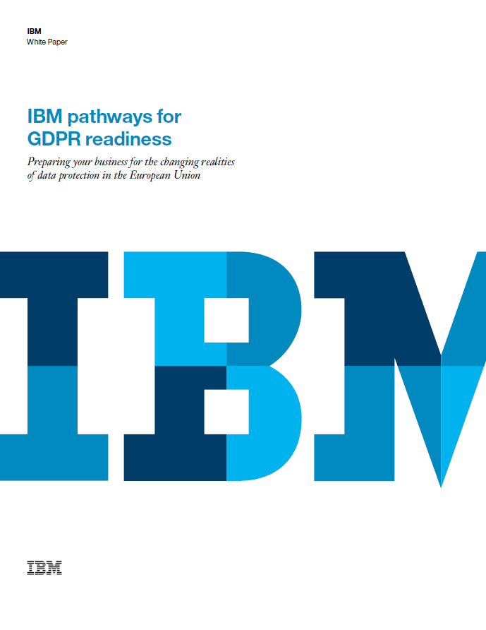 A picture of the IBM pathways for GDPR readiness whitepaper