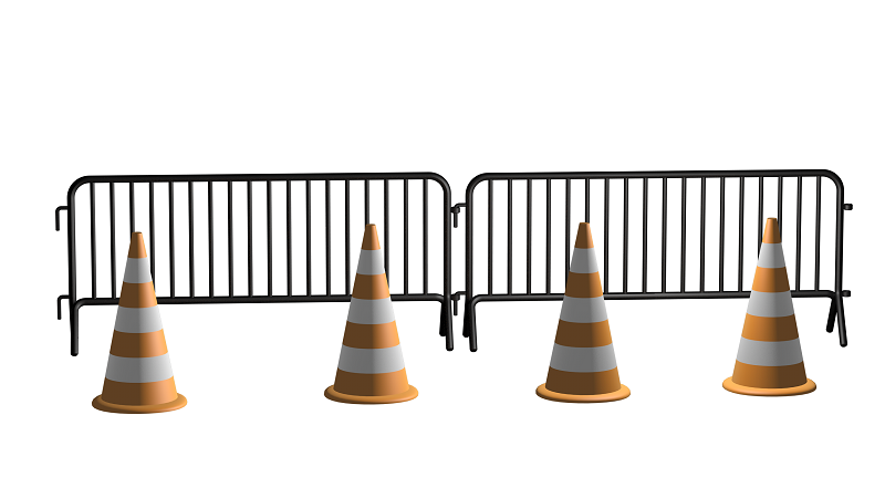 An image of bollards and metal barriers