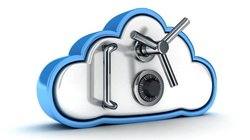 A cloud with a safe combination lock on