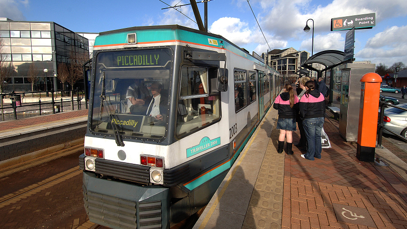 Image of Manchester tram at Salford Quays on its way to Piccadilly