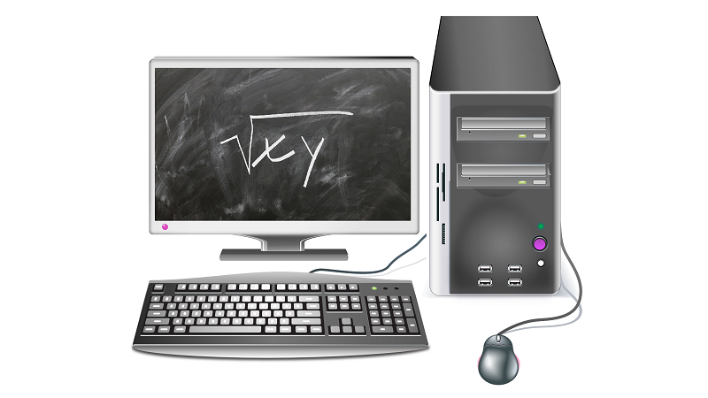 Image of an equation written on a blackboard superimposed on a desktop computer screen