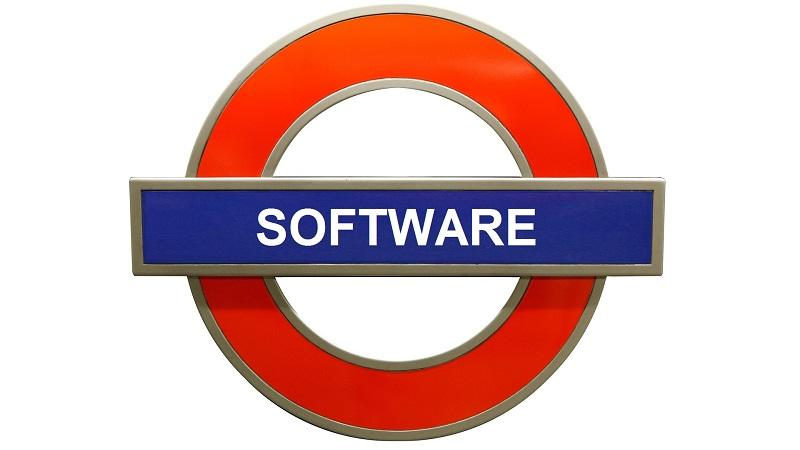 Image of London Underground-style sign emblazoned with the word 'software'