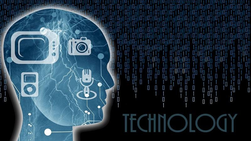 Image of a human head with various technology icons inside