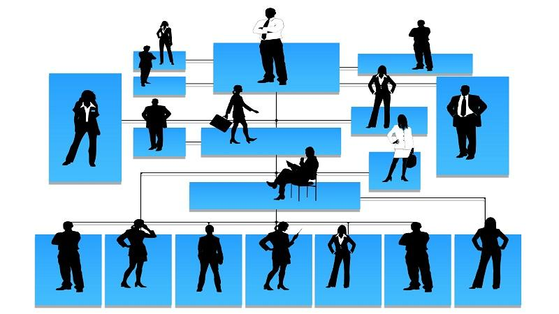 Image showing a family-tree style chain of command hierarchy with pictures of silhouetted figures