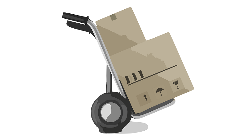 Illustrated image of boxes on a trolley