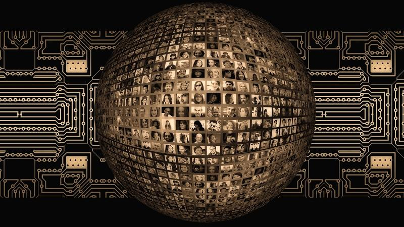 Image of a globe covered in people's faces and surrounded by connections