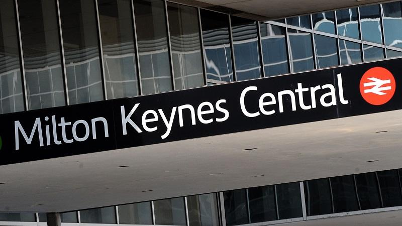 An image of a sign outside Milton Keynes Central station