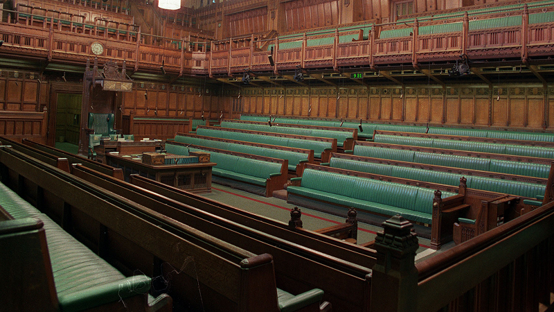 An image of the interior of the House of Commons, focused primarily on the opposition benches