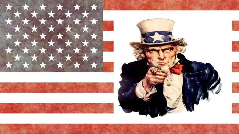 An image of the Uncle Sam character superimposed on the US flag