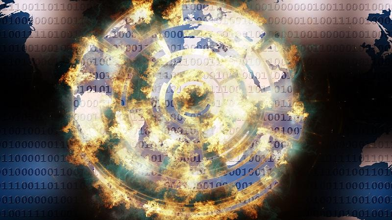 Image of a security symbol aflame, with a backdrop of binary code and a map of the globe