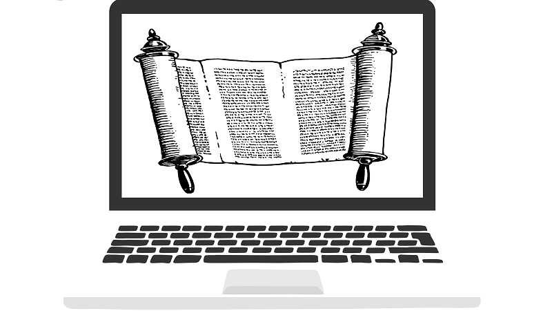 An illustrated image of a parchment scroll on a computer screen