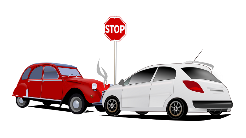 Illustration of a red and white car colliding with each other at a stop sign