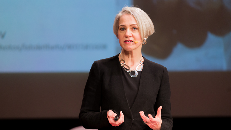 An image of Rachel Neaman, Corsham Institute CEO, speaking on stage