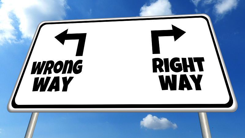 An image of a sign displaying 'right way' and 'wrong way' directions