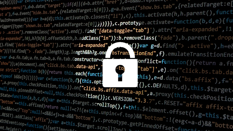 Illustrated image of a padlock under a spotlight in front of computer code in shadow