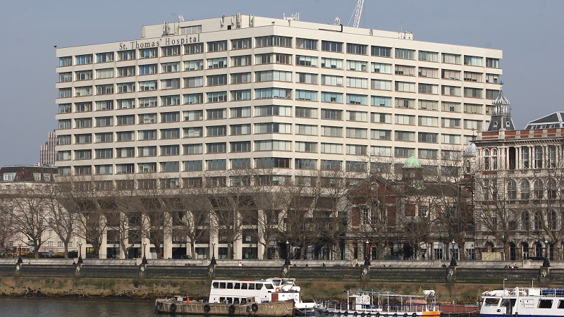 An image of the exterior of St Thomas' Hospital, London, as viewed from the other side of the river Thames