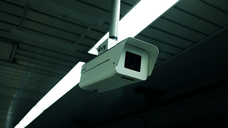 Image of a CCTV camera hanging from the ceiling
