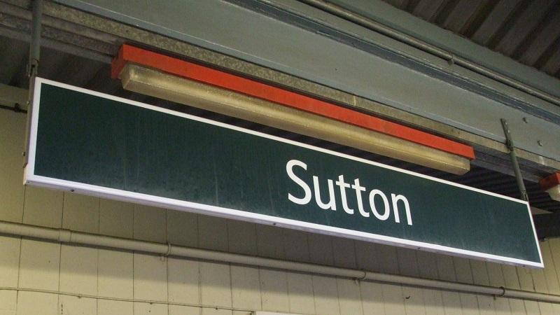 A sign at Sutton station in south London