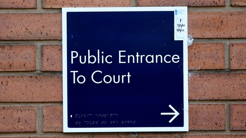 Sign for West London Magistrates court in Hammersmith