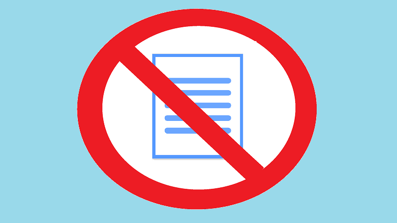 An image of a sign indicating 'no paper