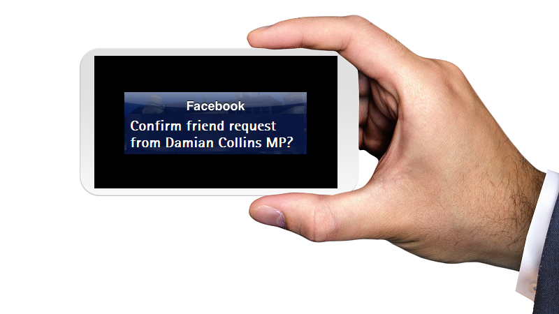 An image of a smartphone displaying a mocked-up Facebook friend request notification from Damian Collins MP