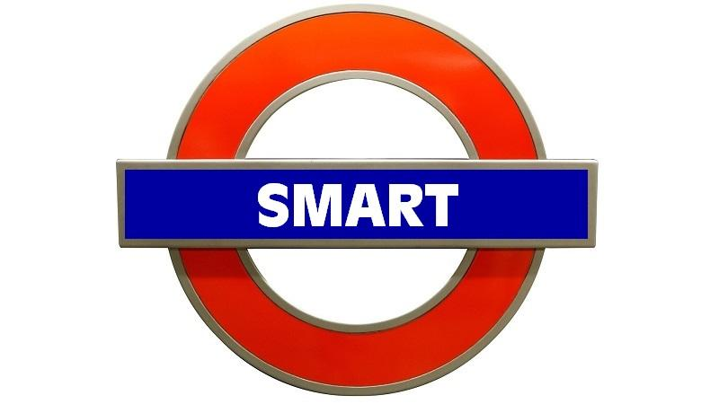 An image of a London underground sign bearing the word 'Smart'