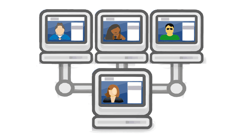 Illustration of computer screens networked together, with each displaying a person's face