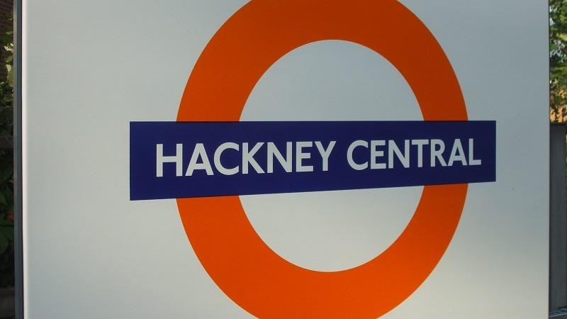 An image of a sign at Hackney Central station on London Overground
