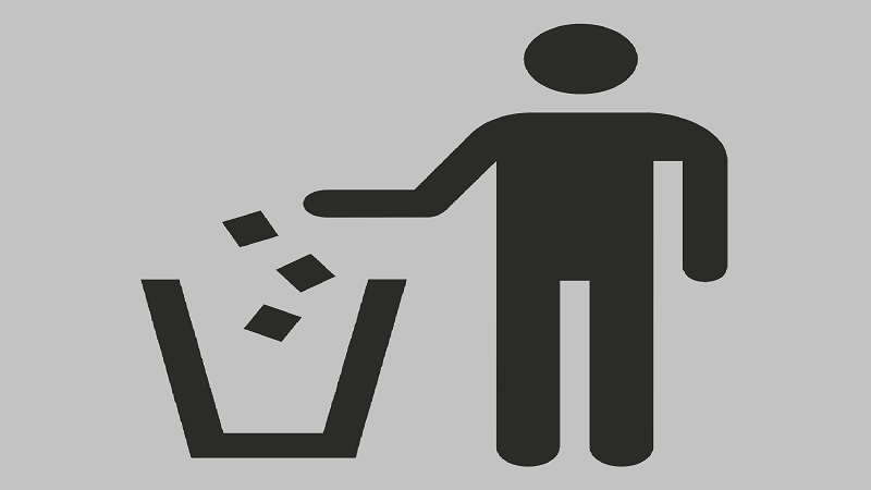 An illustration of a man throwing rubbish in a bin