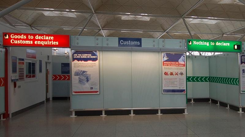 An image of customs at London Stansted airport