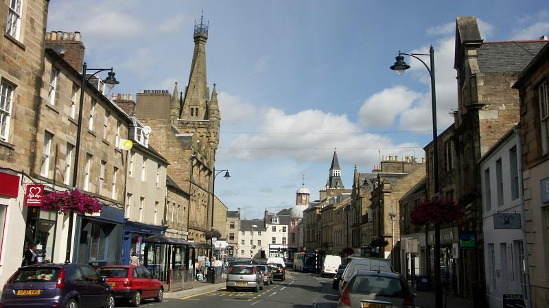 An image of the town centre of the town of Cupar in Fife