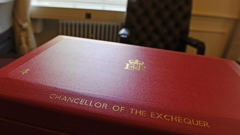 A close-up image of the red budget briefcase traditionally used by the chancellor of the exchequer